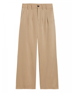 PANTALÓN MUJER HIGH-RISE WIDE-LEG PLEATED ANKLE